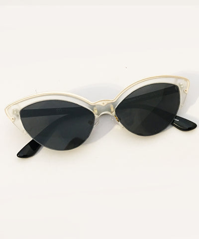 1950s Inspired Classic Clear, Black & Gold Retro Sunglasses
