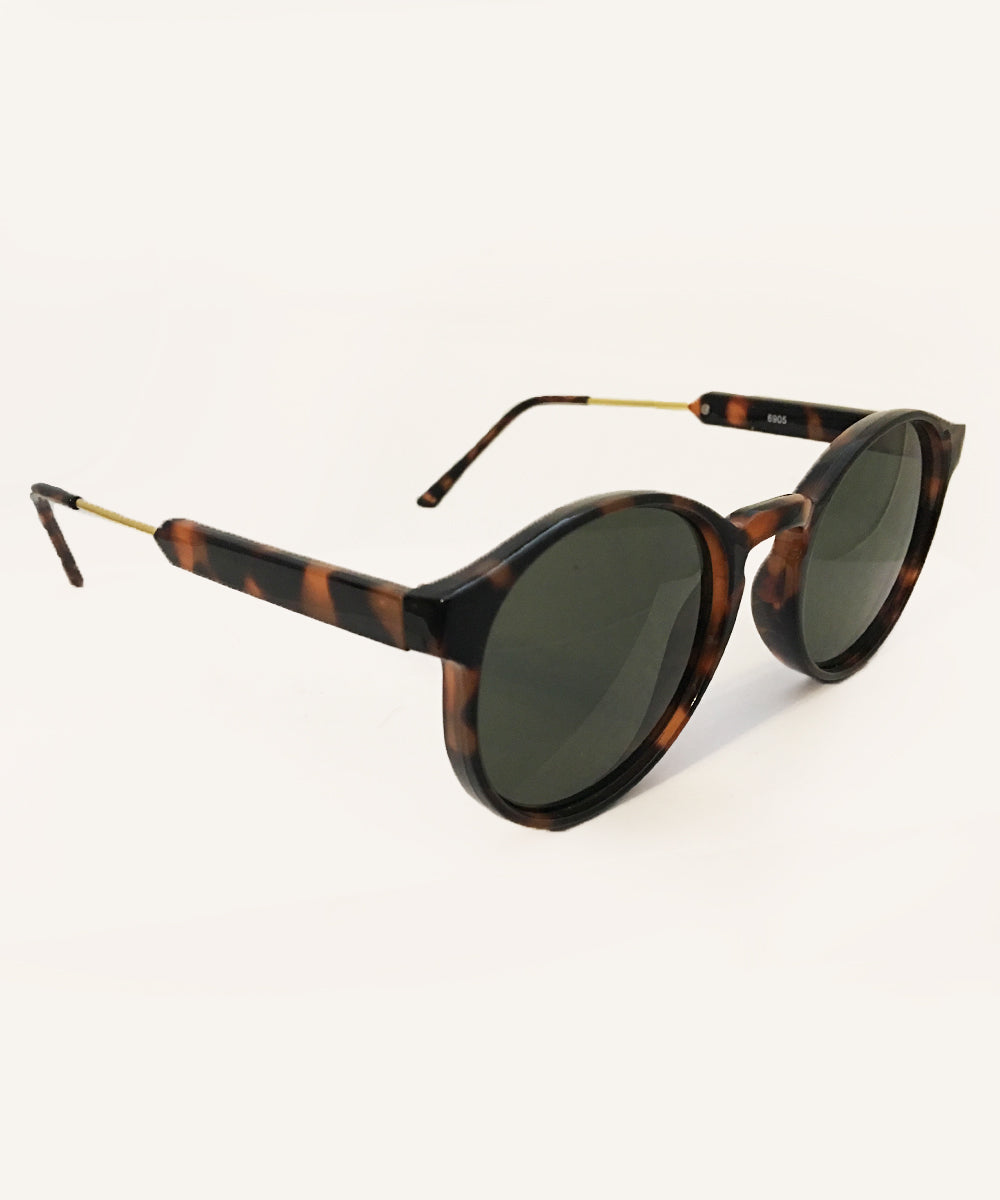 1940s Style Classic Tortoise Brown & Gold Rounded Retro Sunglasses