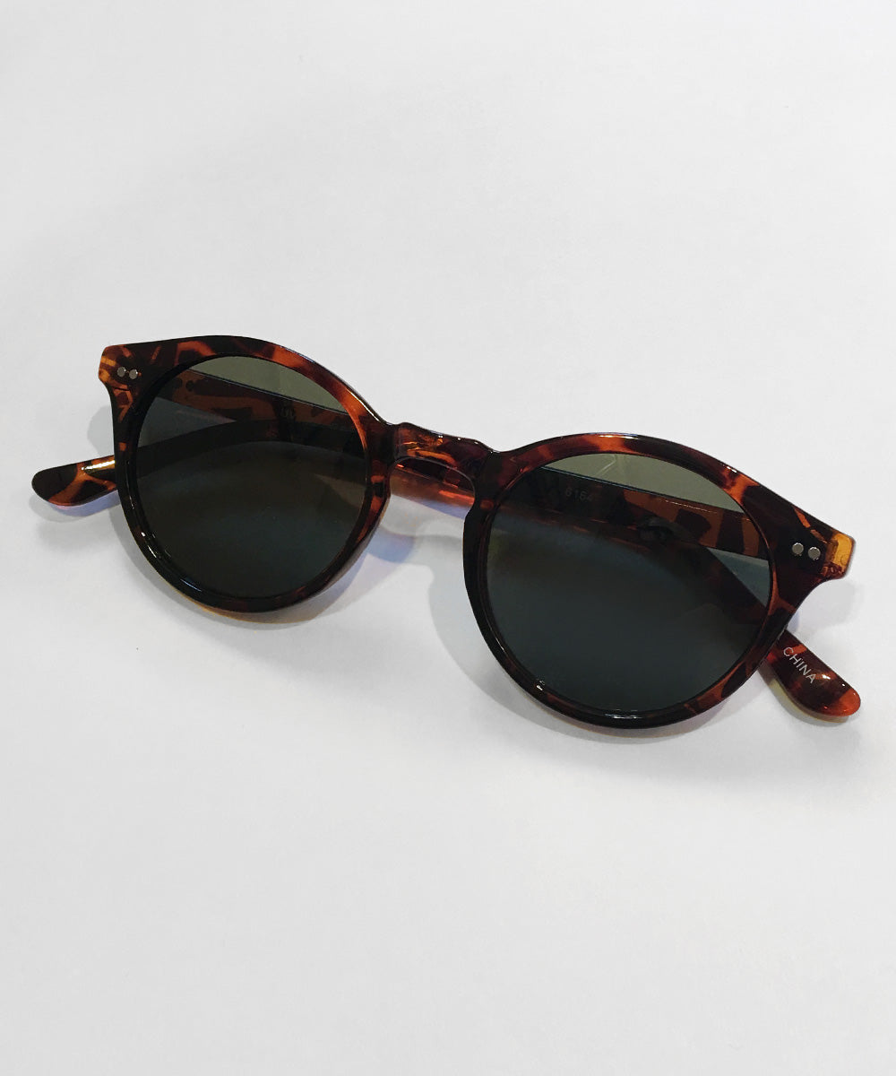 1940s Glossy Tortoise Brown Round Vintage Inspired Sunglasses