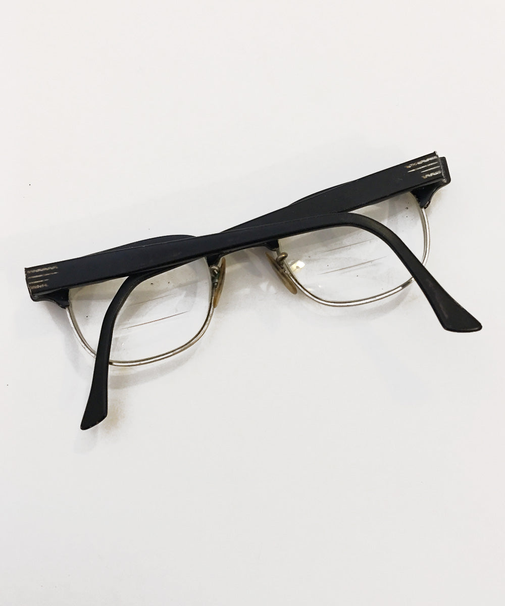 Black & Silver Square 1940s Horn Rimmed Glasses