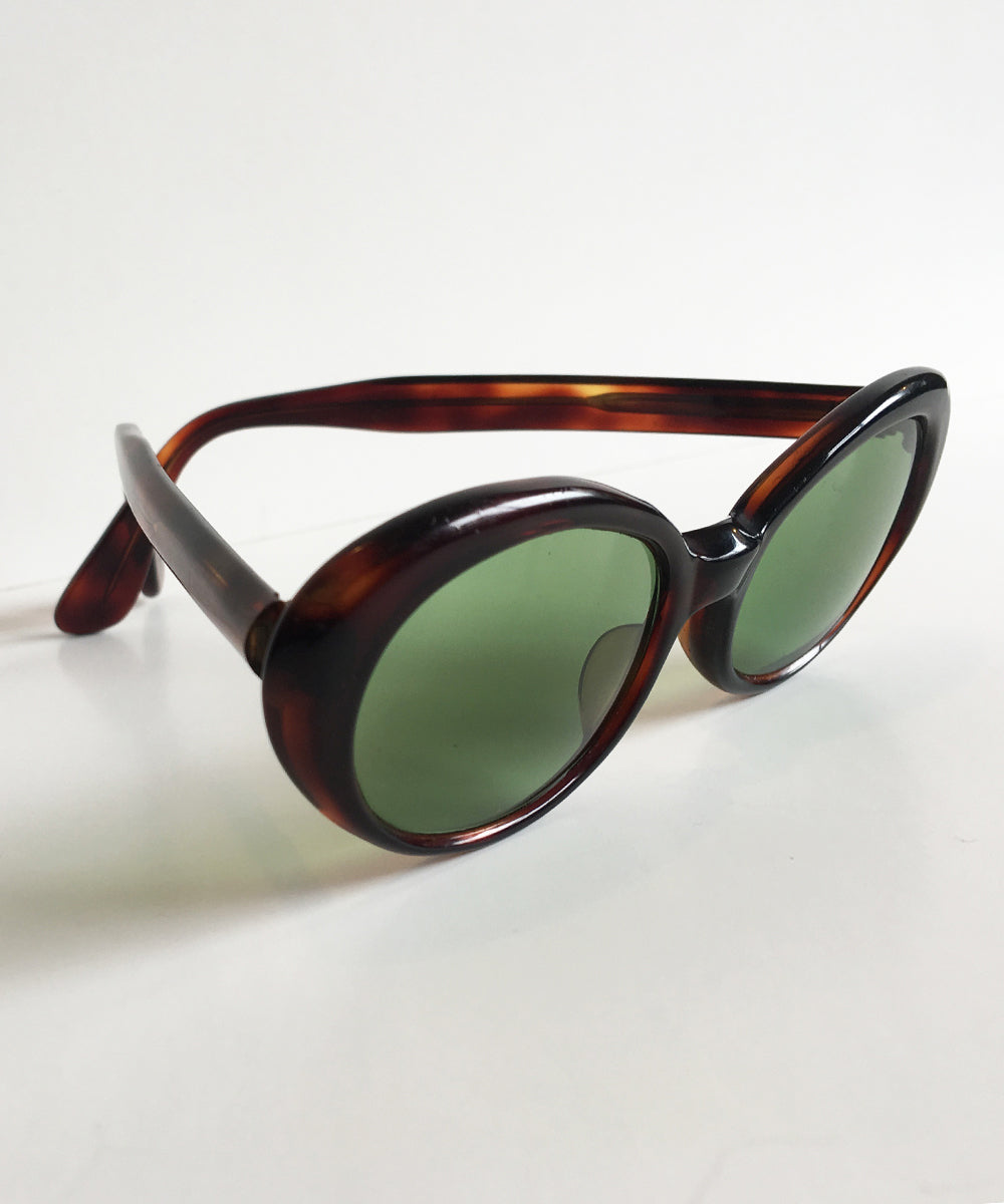 Vintage 1950s Tortoise Oval Sunglasses Made in France by AC