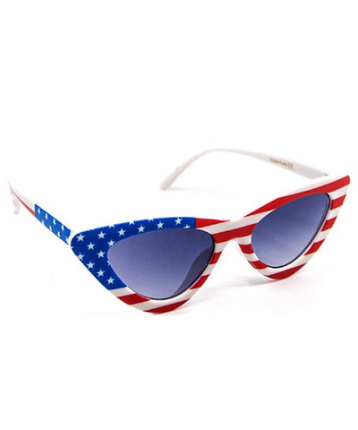 Red White & Beautiful American Flag Retro Sunglasses