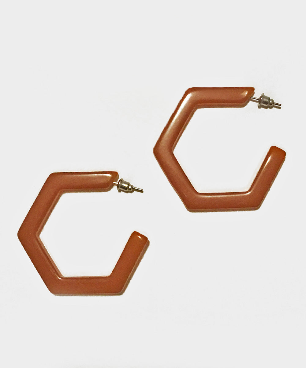 Auburn Resin Geometric Hexagon Hoop Earrings