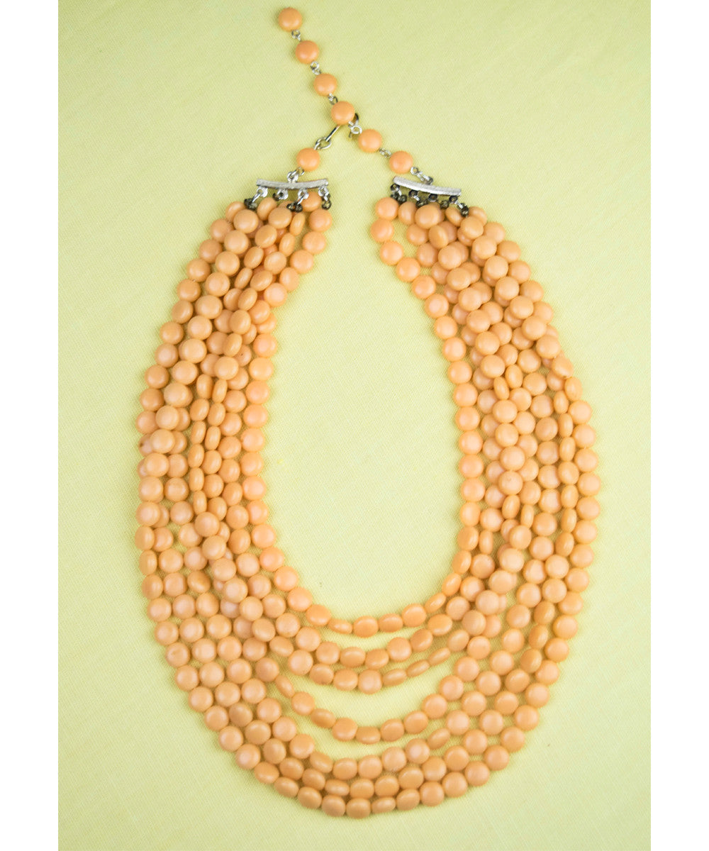 Authentic Vintage Beaded Layers Coral Peach Necklace