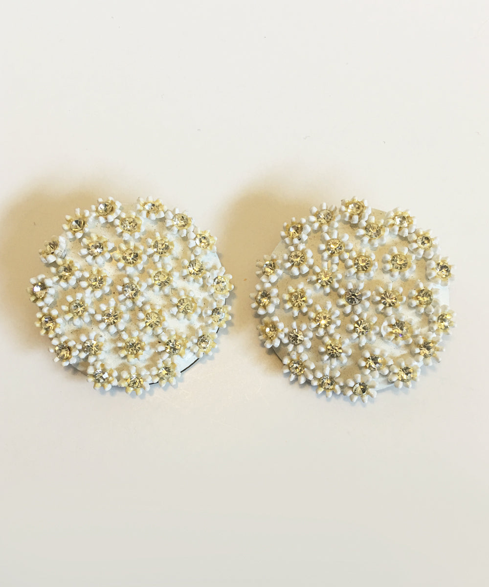 Authentic Vintage 1970s White Round Rhinestone Flower Cluster Clip On Earrings