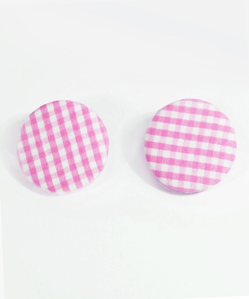 Pink & White Gingham Round Picnic Earrings