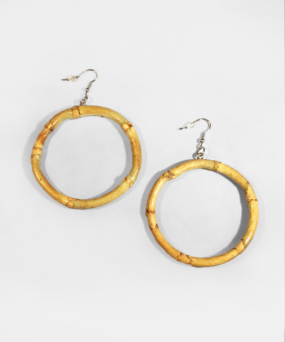 Natural Bamboo Hoop Retro Earrings