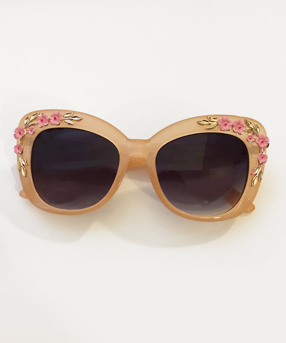 Translucent Beige 3D Floral Retro Inspired Oversized Sunglasses