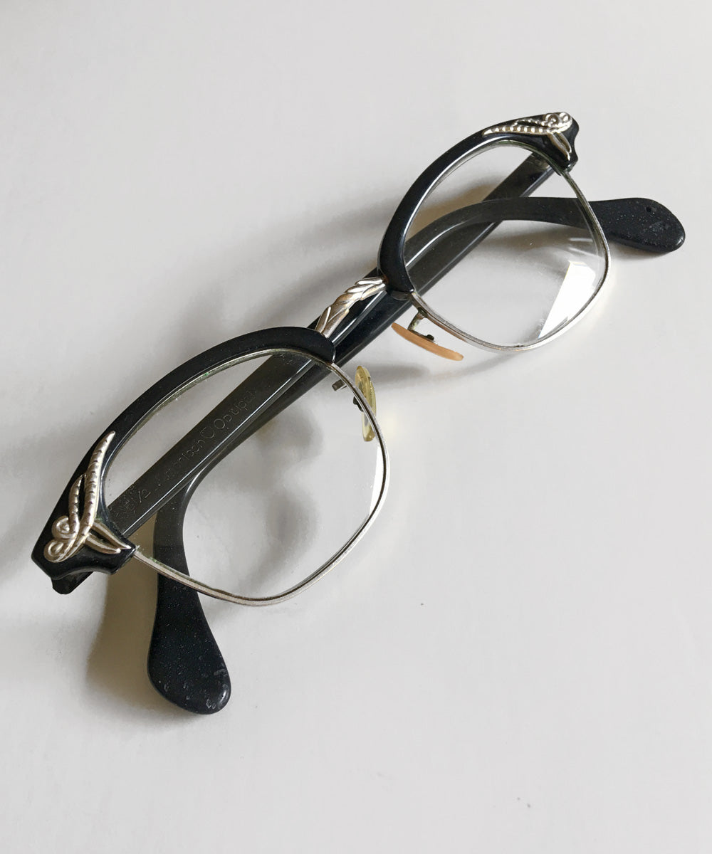 Black & Silver American Optical 1950s Horn Rimmed Glasses