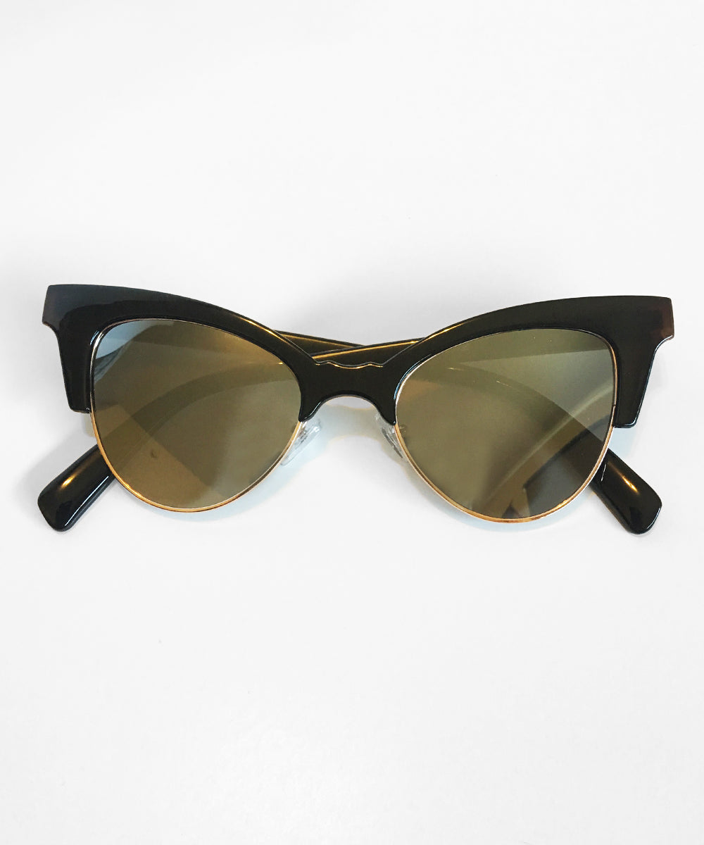 1950s Inspired Black Betty Cat Eye Horn Rimmed Retro Sunglasses