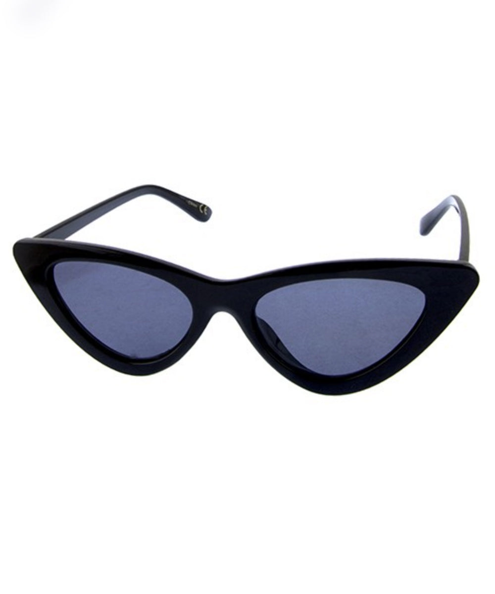 Black Classic 1950s Cat Eye Retro Sunglasses