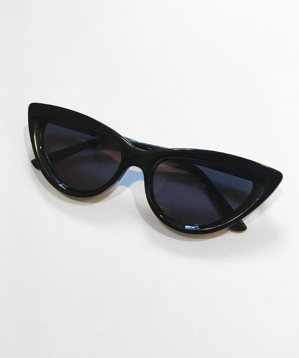Black Classic 1950s Cat Eye Inset Lens Sunglasses