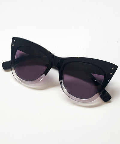 Black & Clear Two Toned 1950s Inspired Sunglasses