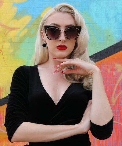 Large Black & Gold Lined 1960s Inspired Sunglasses