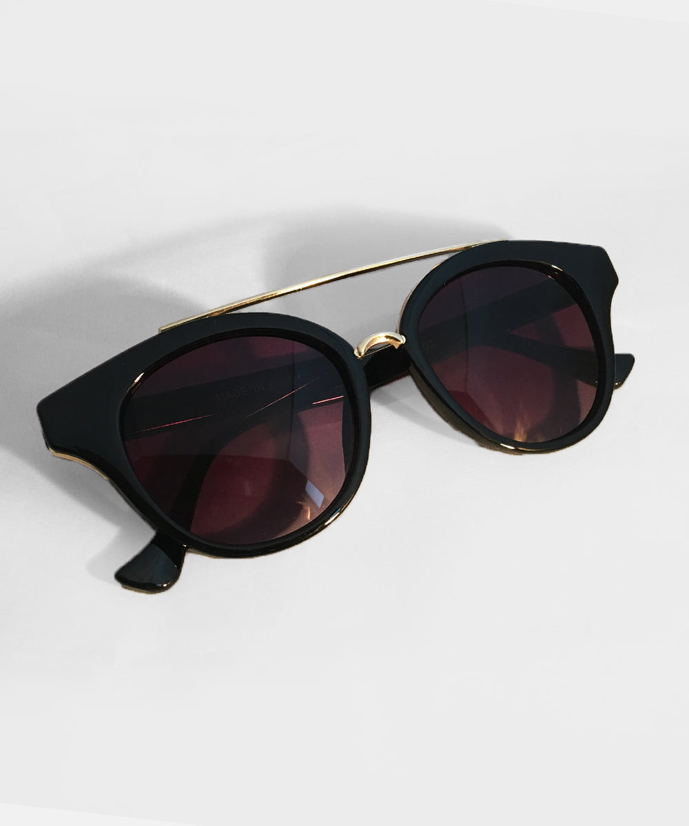 Black & Gold Brim Retro Rounded Sunglasses