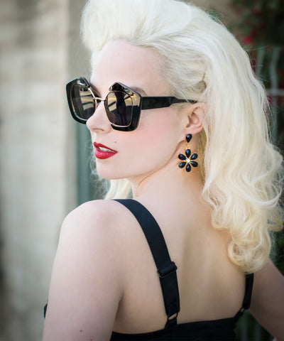 Black & Gold Thick Retro Geometric Sunglasses