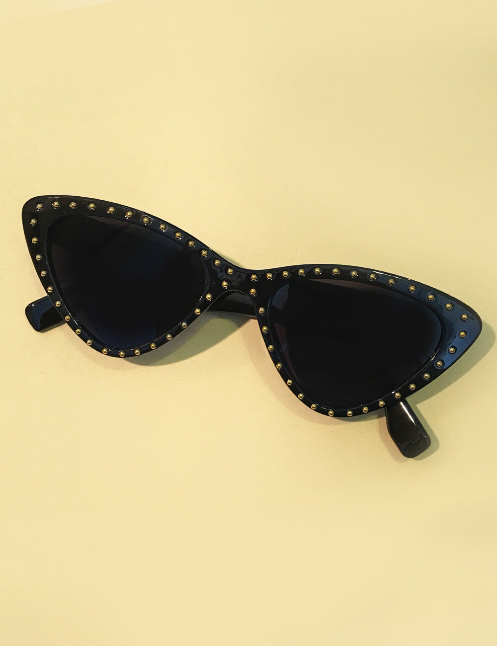 Solid Black & Gold Studded Retro Classic Cat Eye Sunglasses