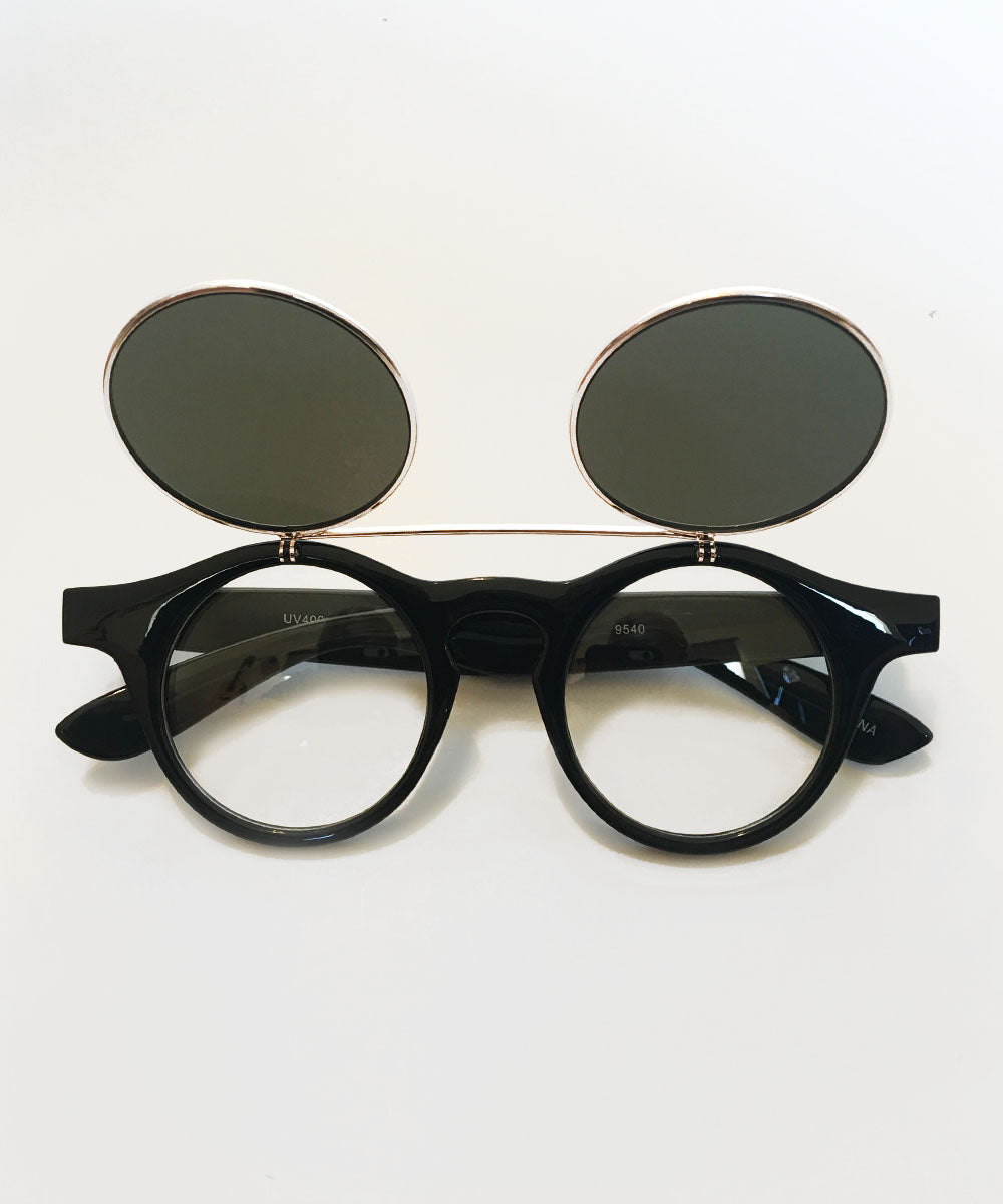 1940's Black & Silver Round Spectacles With Flip Up Sunglasses