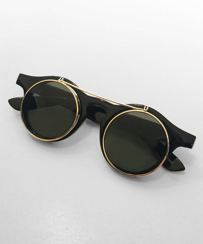 1940's Black & Gold Round Spectacles With Flip Up Sunglasses