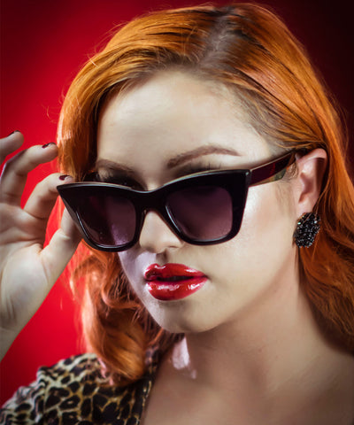 Black & Gold Modernized Pointed Cat Eye Sunglasses