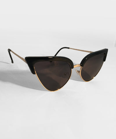 Imperfect Black & Gold Metal Framed Cat Eye Sunglasses
