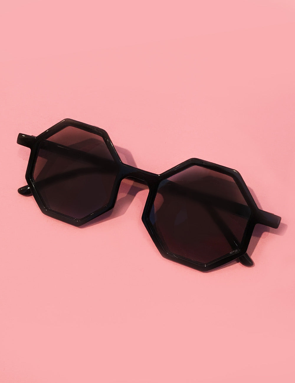 Solid Black Thin Geometric Retro 1960s Sunglasses