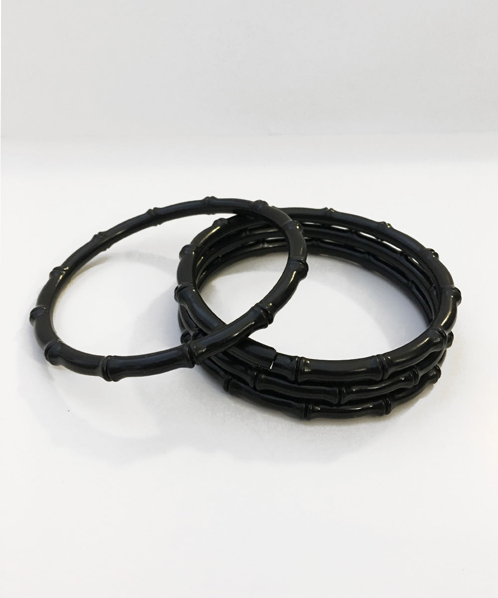 Thin Plastic Black Bamboo Bangle Set