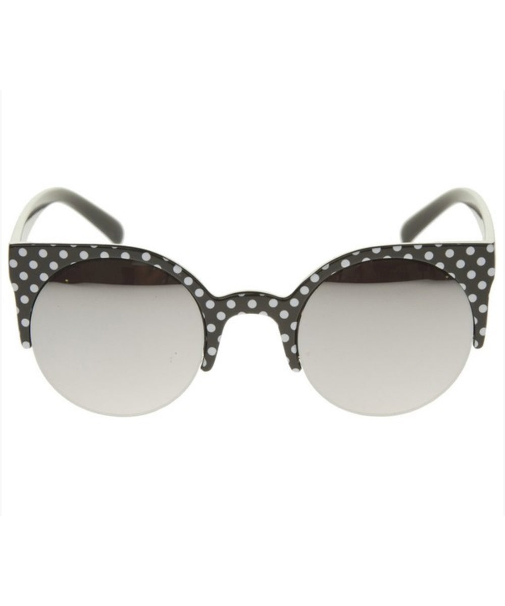 Black & White Polka Dot Reflective Retro Sunglasses