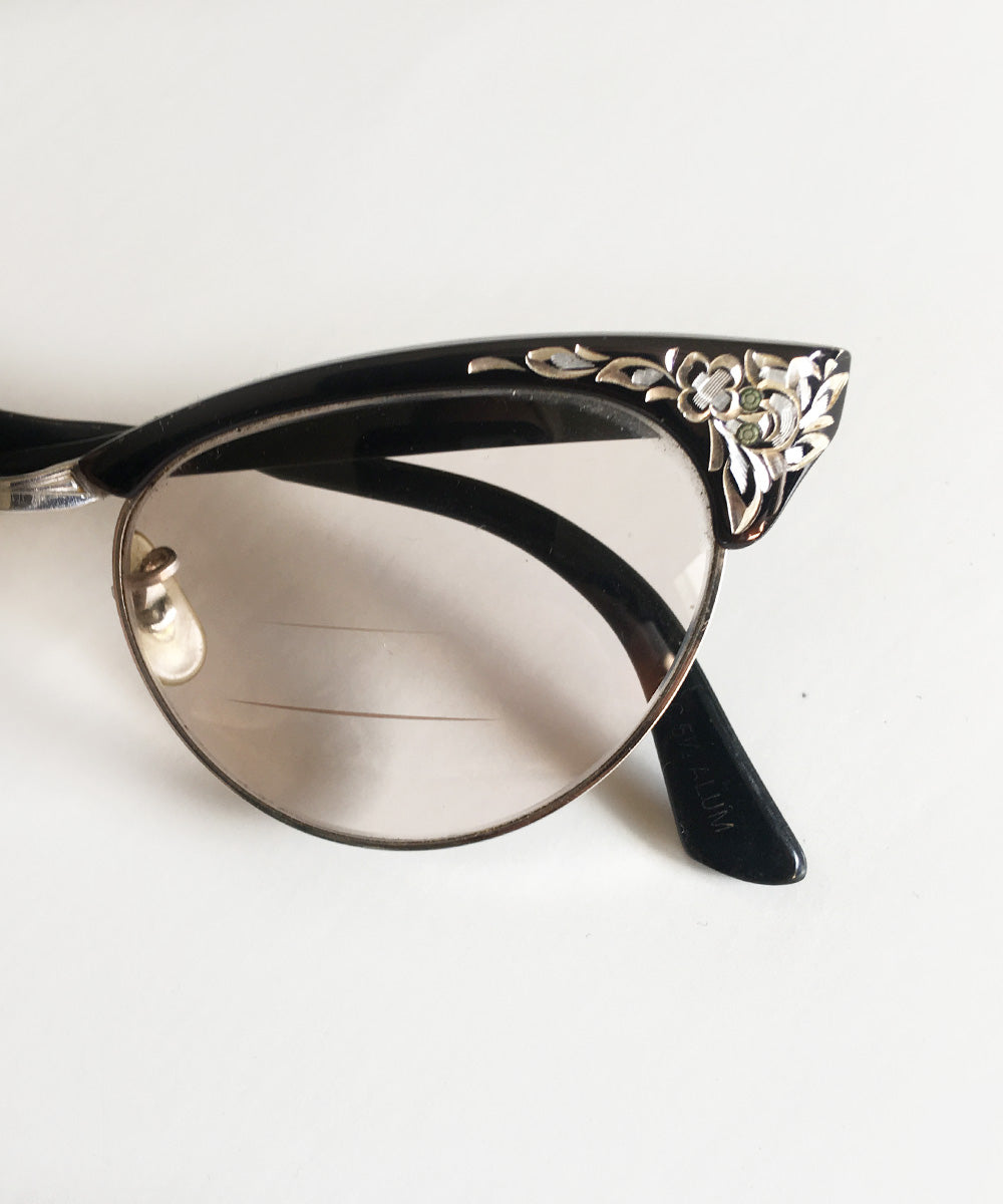 Black & Silver Carved 1950s Universal Optical UOC Cat Eye Glasses