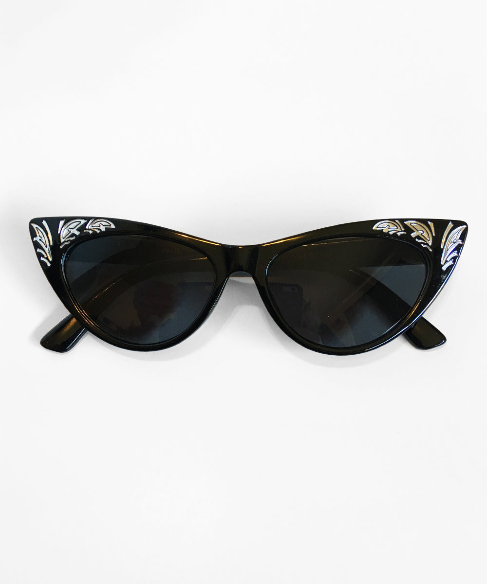 Western Inspired Black & Silver Pinup Sunglasses