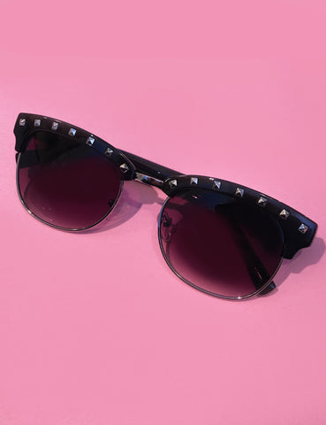 Retro Black & Silver Studded Horn Rimmed Sunglasses