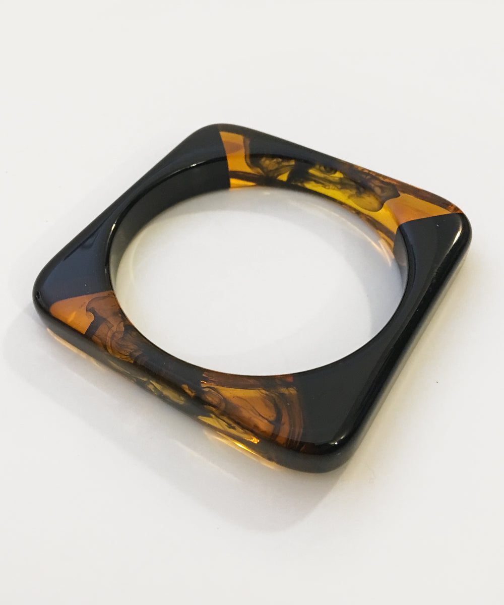 Two Toned Marbled Resin Black Square Bangle