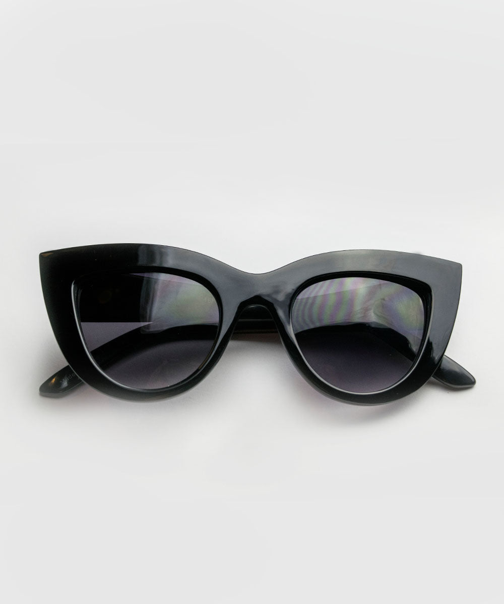 Solid Black Thick Retro Inspired Sunglasses