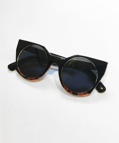 Black & Tortoise Brown 1960s Inspired Geometric Sunglasses