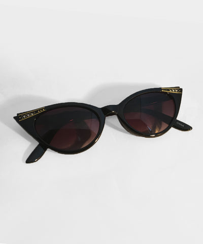 Black Gold & Rhinestone Classic Vintage Cat Eye Sunglasses