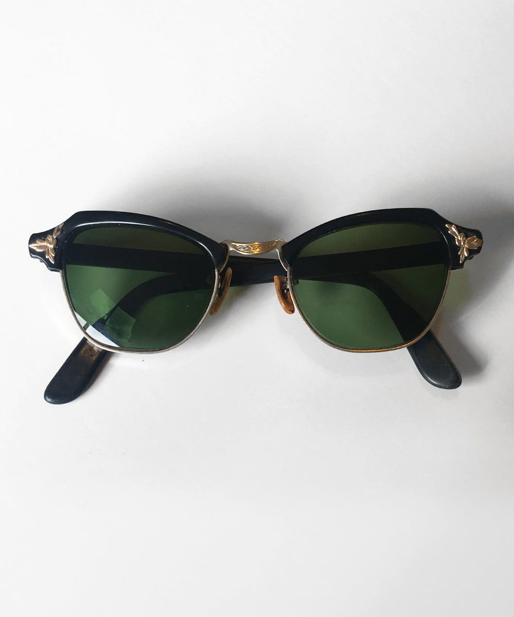 Vintage 1940s Black & Gold Bausch & Lomb Sunglasses