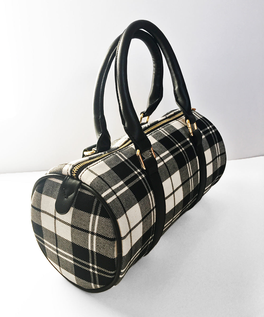 Black & White Plaid Fabric & Faux Leather Round Purse