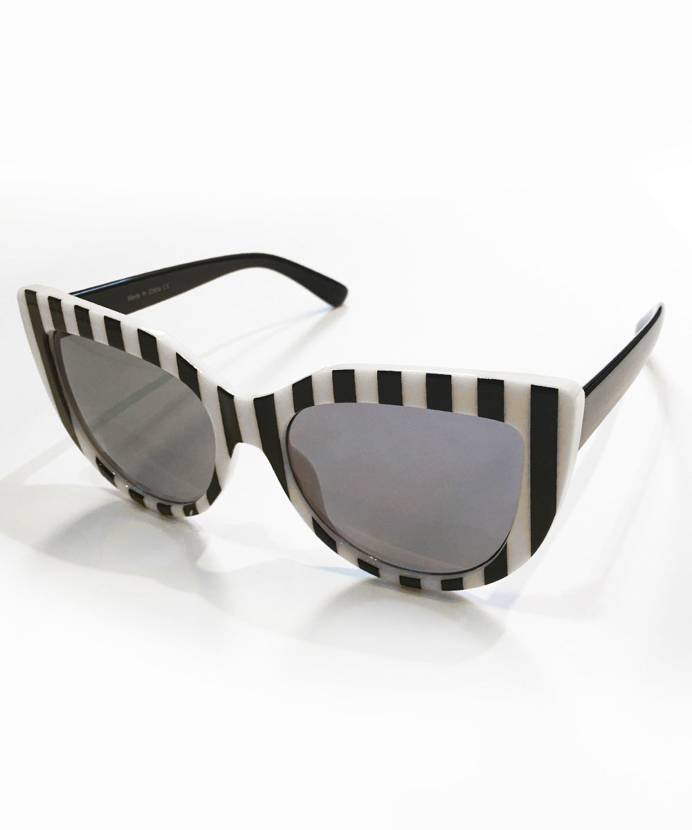 Black & White Stripe Mod 1960s Retro Sunglasses
