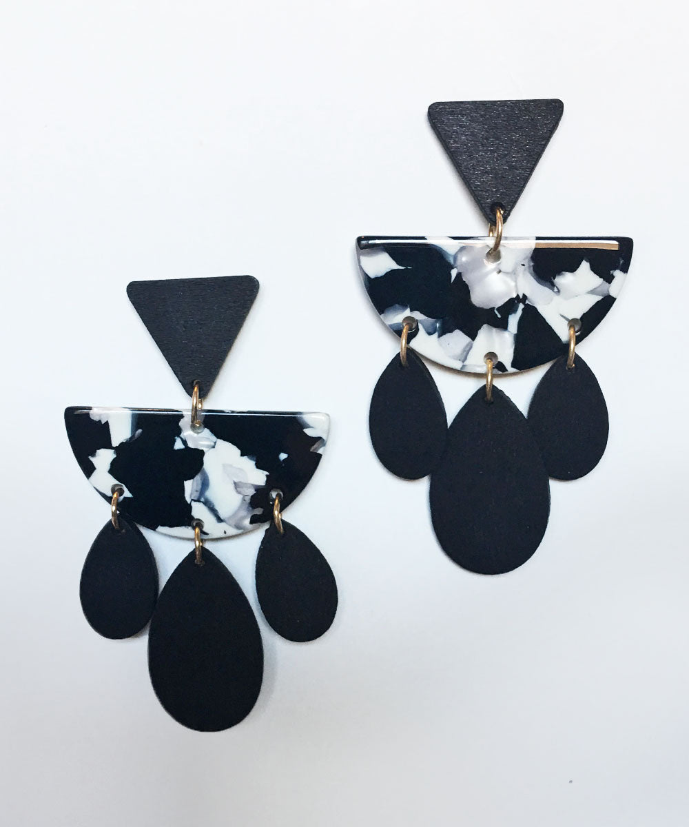 Black & White Wooden Marbled Resin Dangle Earrings