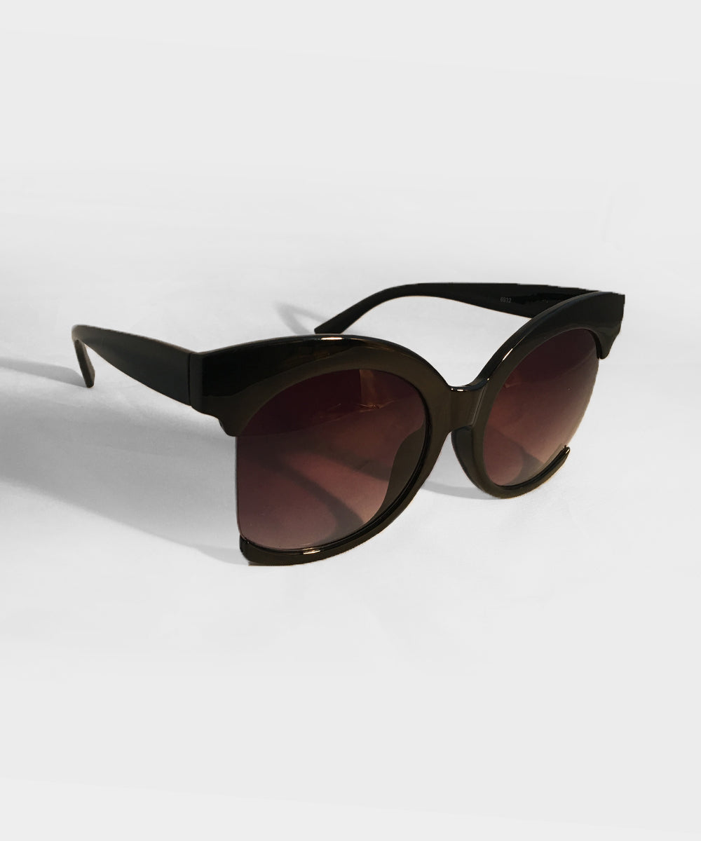 Solid Black Unique Retro Statement Sunglasses
