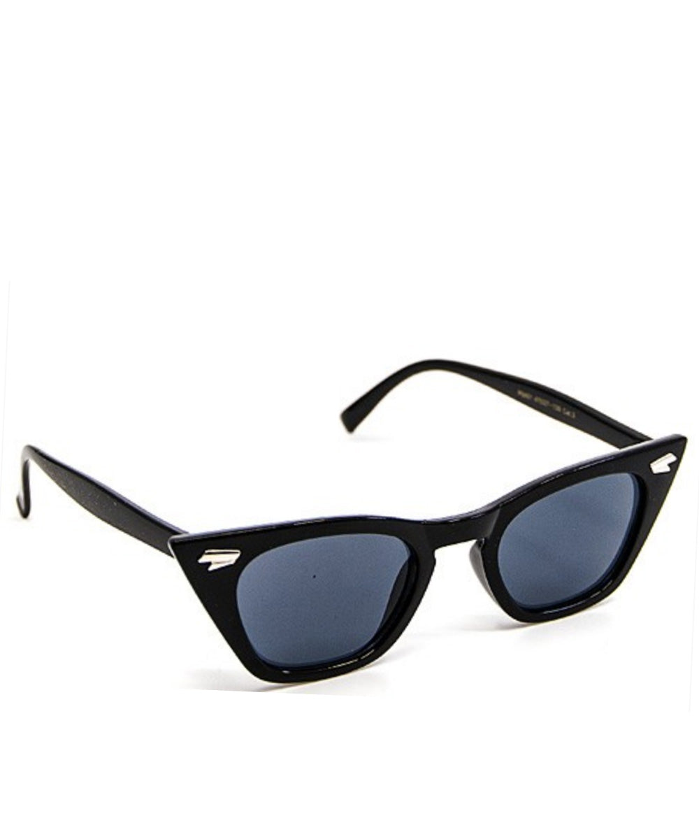 Vintage Inspired Solid Black Squared Wayfarer Sunglasses