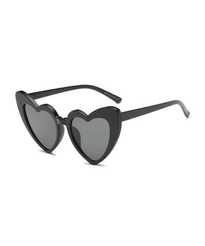 Solid Black Heart Shaped Retro Sunglasses