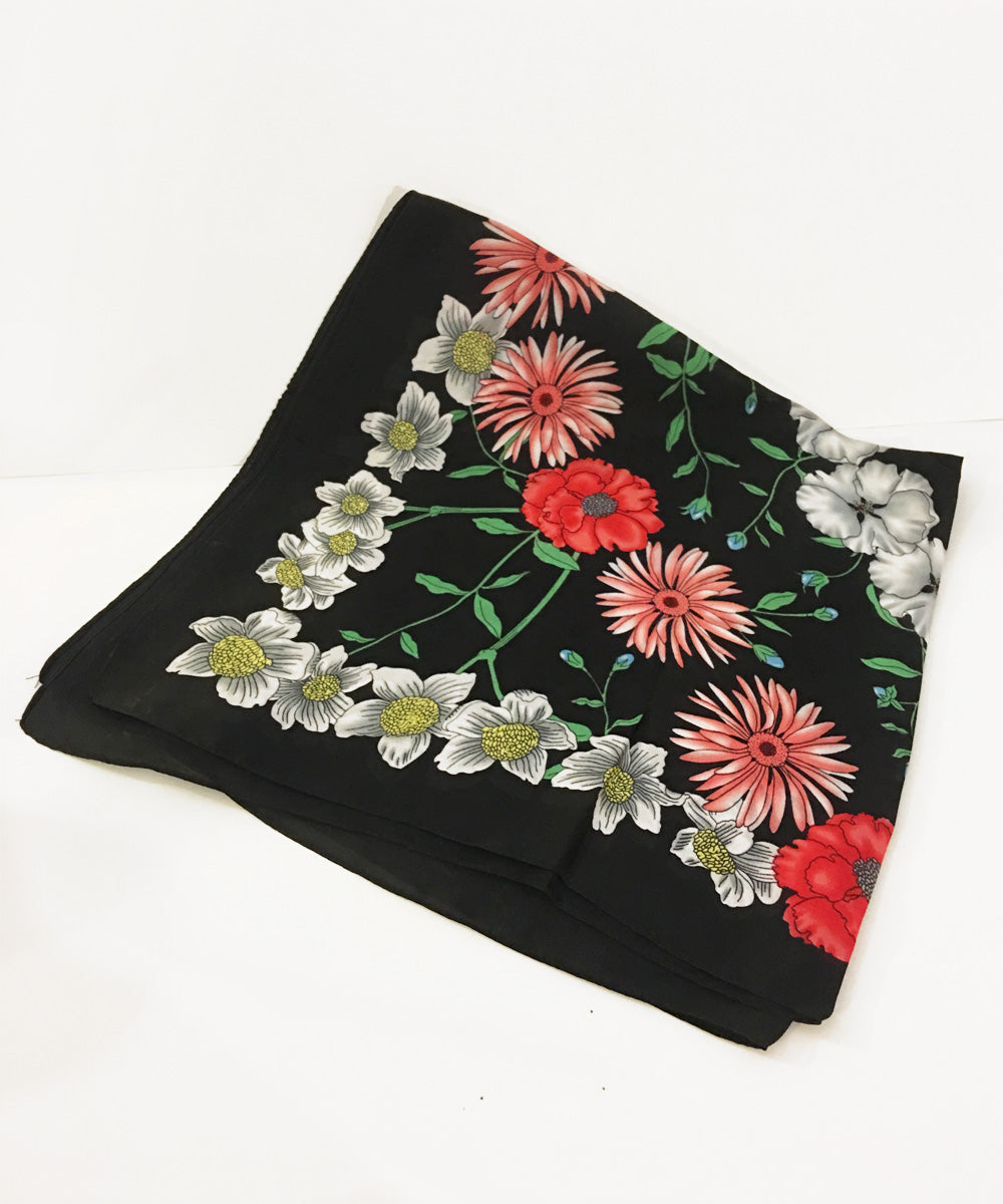 Black & Colorful Floral Retro Inspired Satin Square Scarf