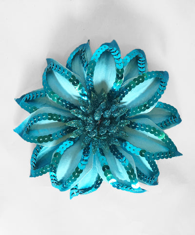 Turquoise Blue Sequin & Glitter Hair Flower & Pin