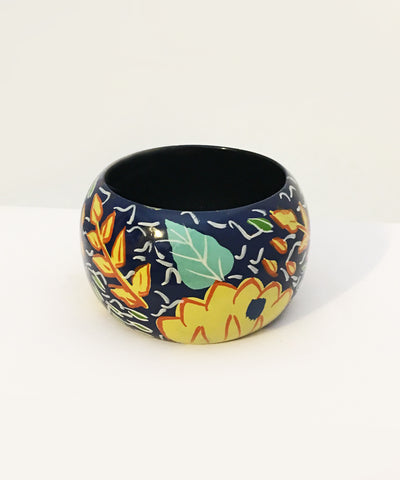 1940s Inspired Abstract Navy Blue Hawaiian Hand Painted Wooden Bangle