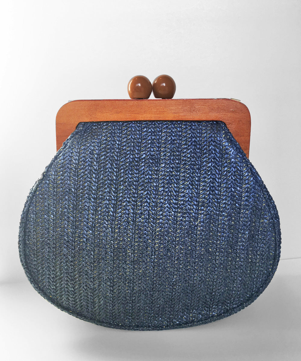 Blue Woven Straw & Wooden Frame Vintage Inspired Purse