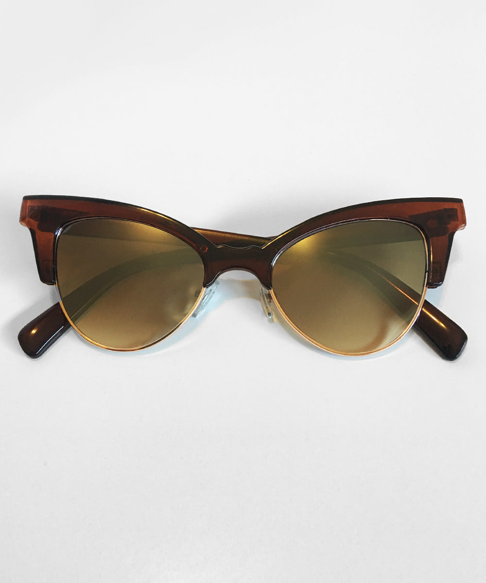 1950s Inspired Tortoise Brown Betty Cat Eye Horn Rimmed Retro Sunglasses