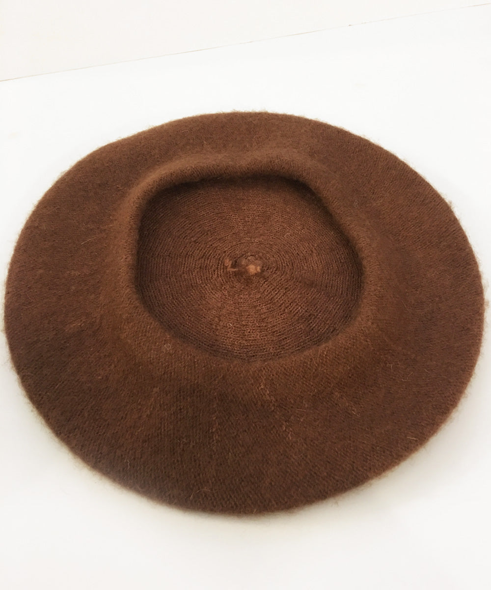 Soft Felt Brown 1960s Inspired Beret Hat