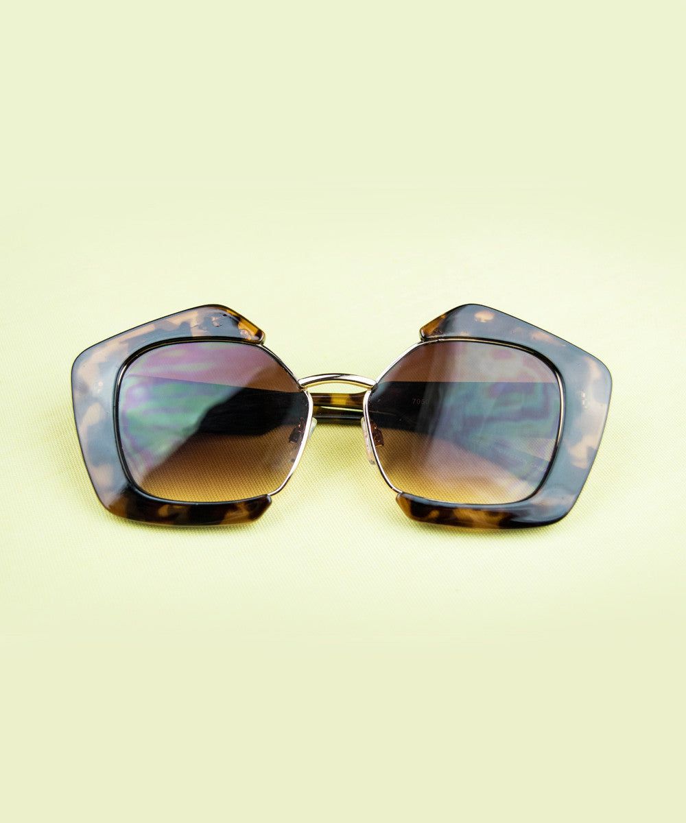 Tortoise & Gold Thick Retro Geometric Sunglasses
