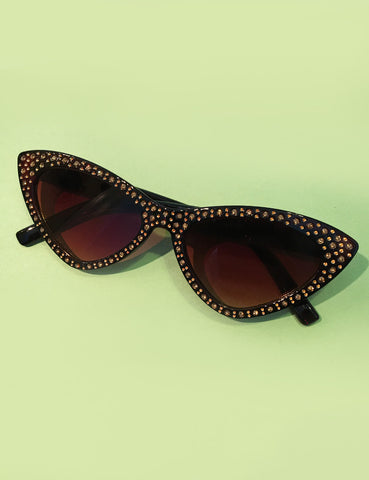 Brown Rhinestoned Glamour Cat Eye Sunglasses